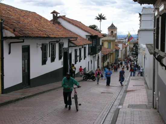 One of the sloping streets in Bogota's La Candelaria district