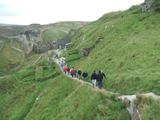 Part of the dramatic ruins of Tintagel Castle, over the craggy Cornish coast.