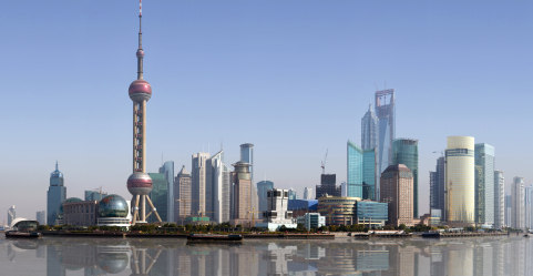 The booming skyline of Shanghai's Pudong District.